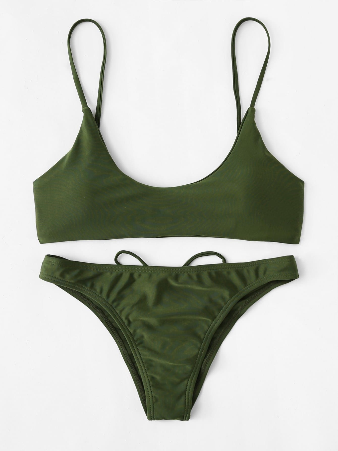 Criss Cross Drawstring Bikini Set criss cross ruffle bikini set