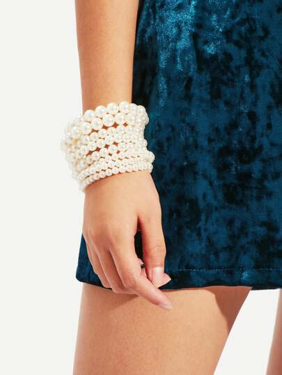 Faux Pearl Design Beaded Bracelet Set