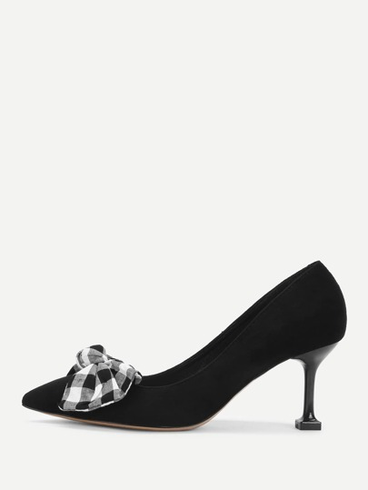 Checked Bow Decorated Pointed Toe Pumps