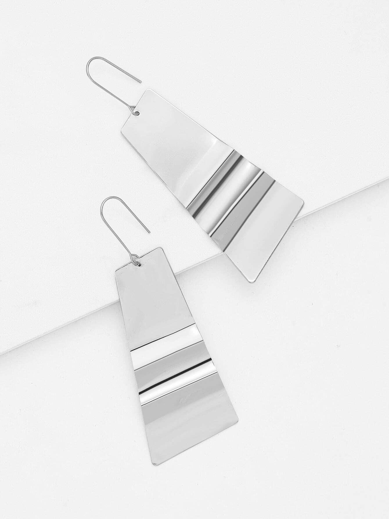 Irregular Metal Drop Earrings two tone metal drop earrings