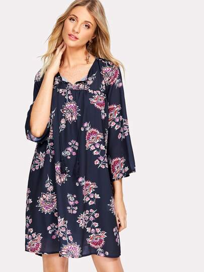 Tassel Tie Neck Tribal Floral Dress