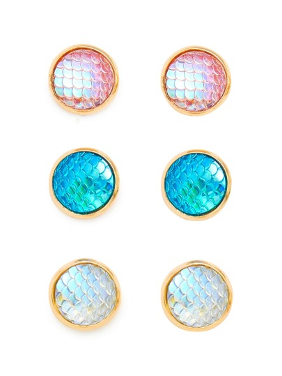 Scale Design Round Stud Earring Set