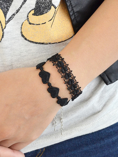 Black Lace Heart Shape Wrap Bracelets