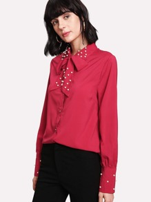 Faux Pearl Decoration Tie Neck Shirt