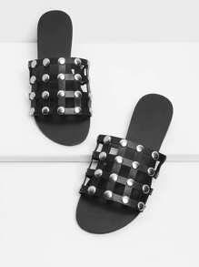 Studded Design Cut Out Sandals