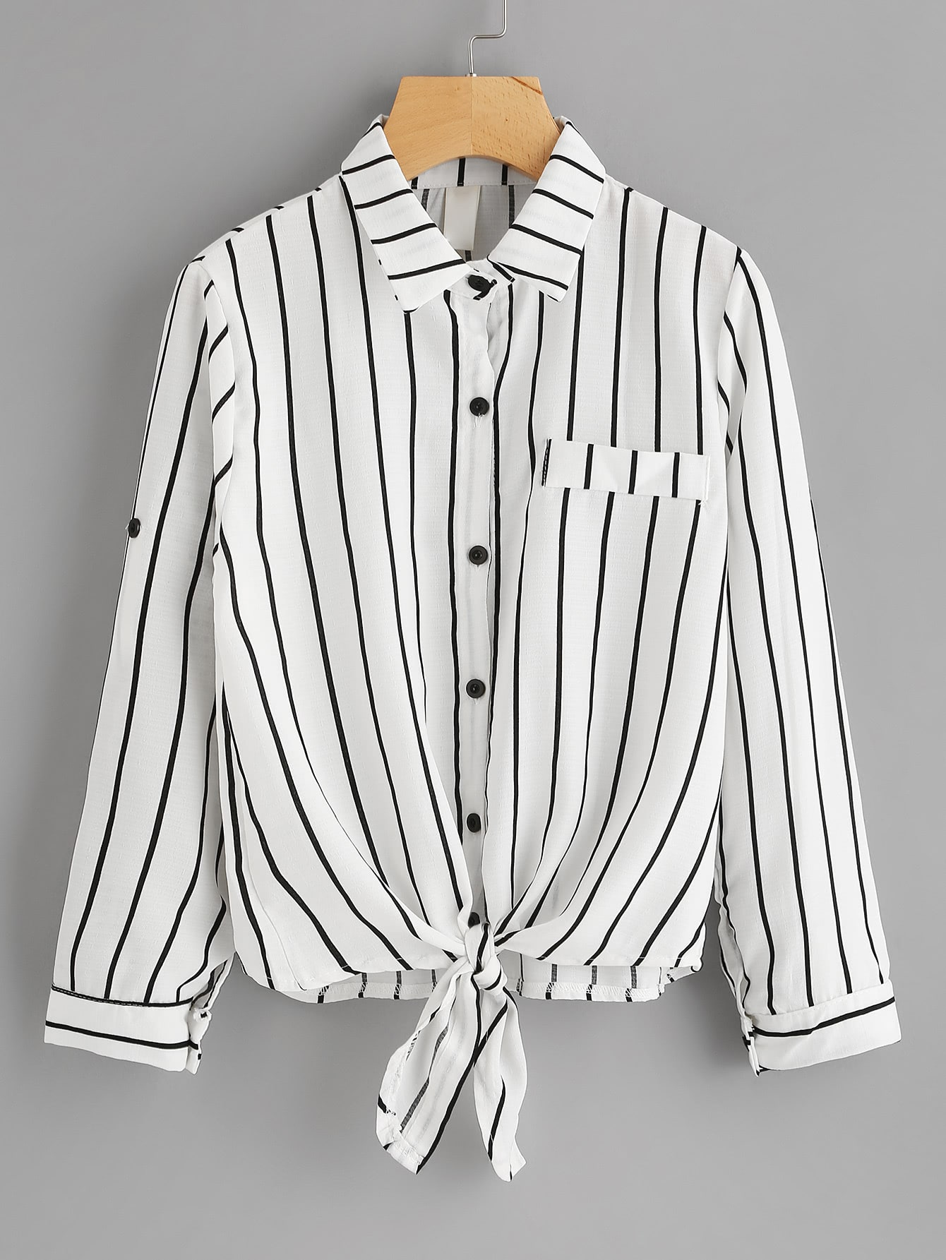 Roll Tab Sleeve Knot Front Striped Shirt