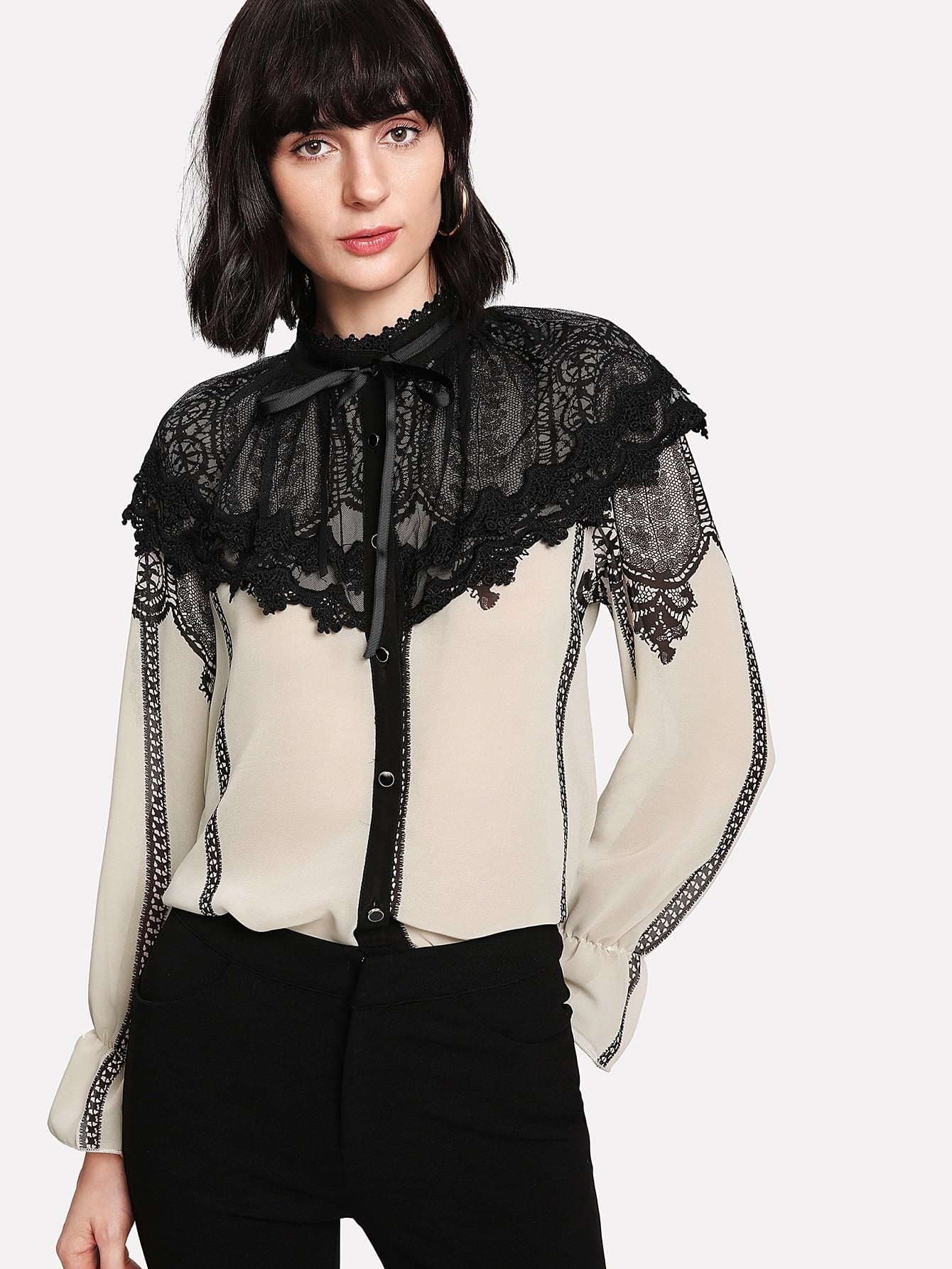Lace Contrast Bow Tie Neck Blouse contrast embroidered mesh yoke bow tie striped blouse