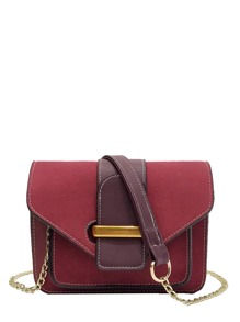 Two Tone Shoulder Chain Bag