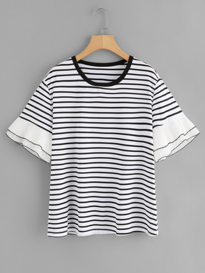 Tiered Pleated Cuff Striped Tee