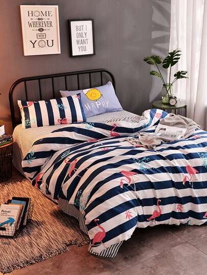 1.5m 4Pcs Flamingo Print Striped Duvet Cover Set