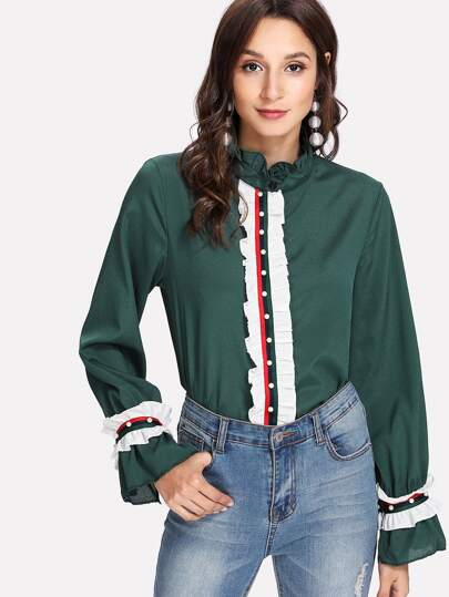 Pearl Beading Tape Detail Frill Shirt