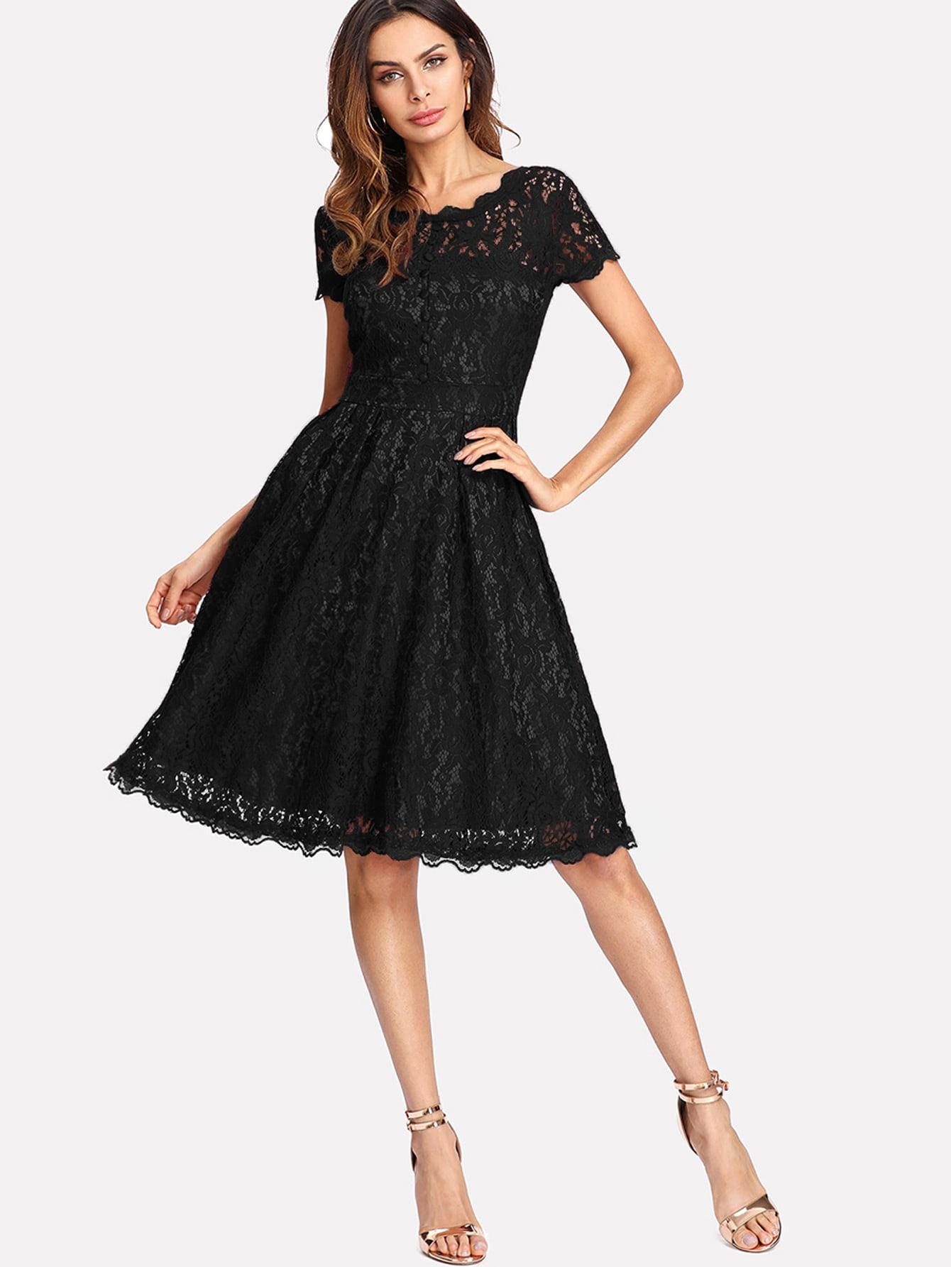 Hollow Out Lace Skater Dress hollow out plain courtly asymmetric neckline skater dress