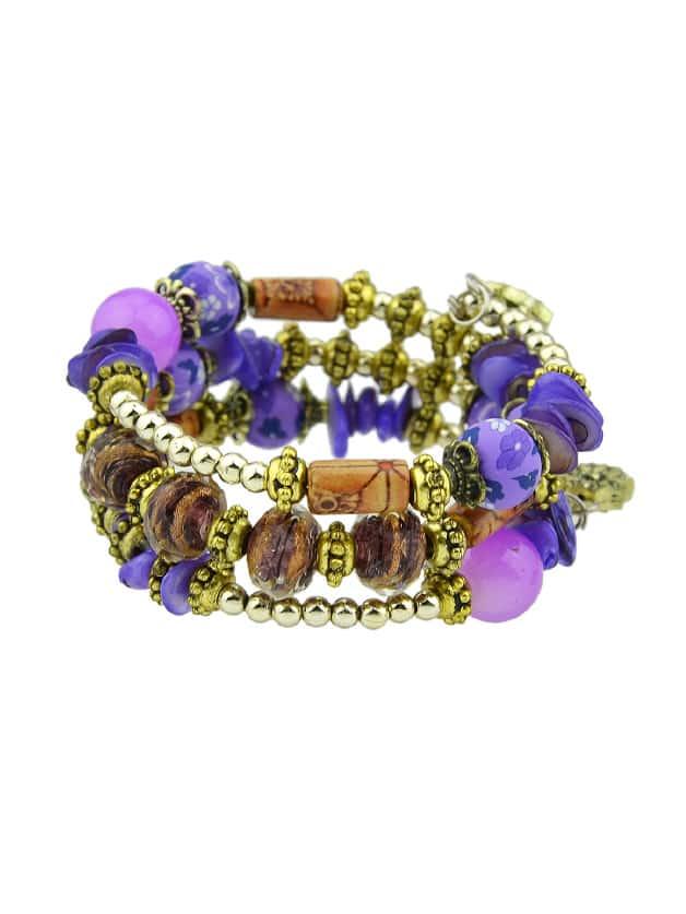 Фиолетовый браслет из бисера ручной работы