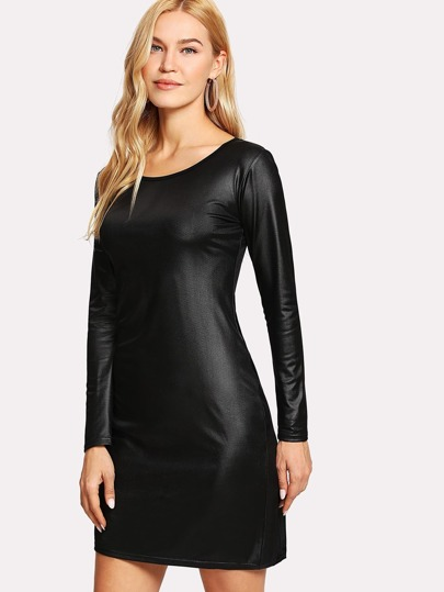 Zip Back Solid Dress