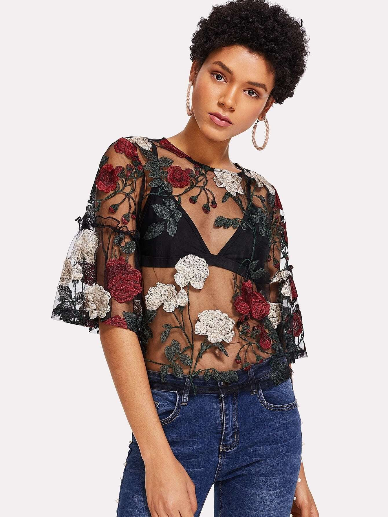 Floral Embroidered Keyhole Back Sheer Mesh Top without Bra girls keyhole back floral embroidered mesh top
