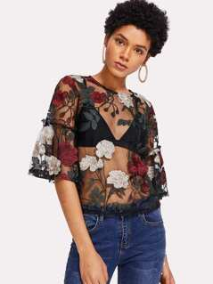 Frilled Sleeve Embroidered Mesh Top