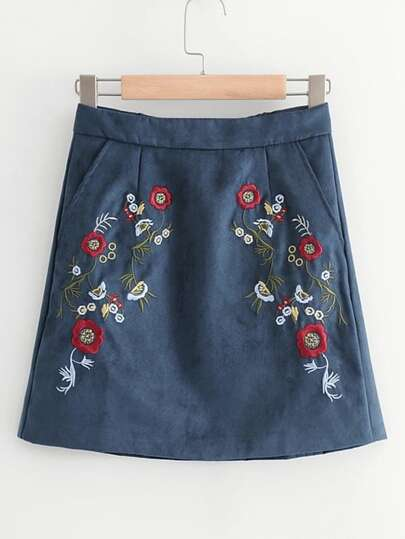 Flower Embroidery Suede Skirt