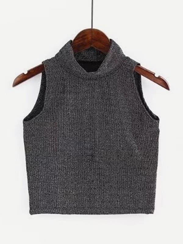 Mock Neck Crop Top vest180109201