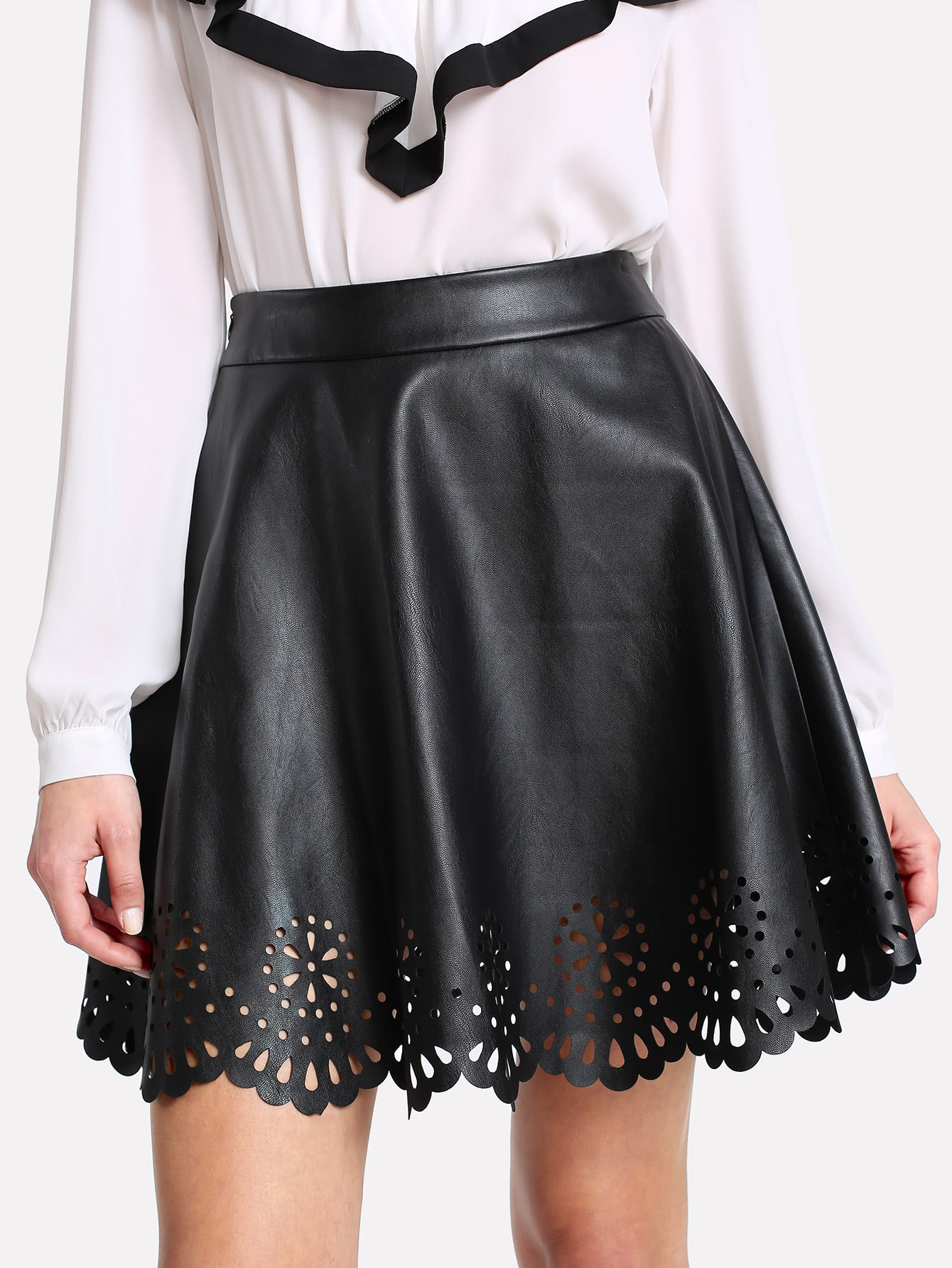 Scallop Laser Cut Coated Skirt scallop laser cut form fitting dress