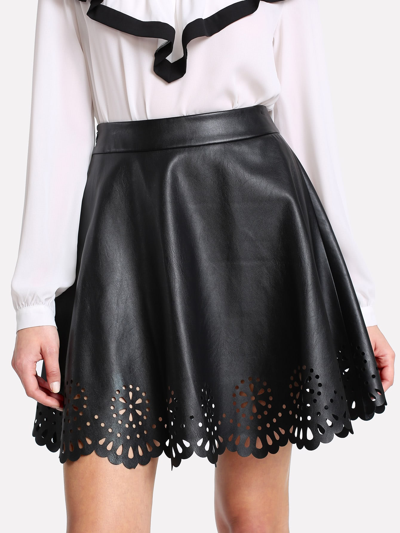 Scallop Laser Cut Coated Skirt