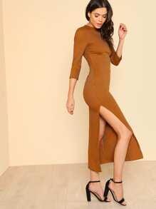 High Slit Rib Knit Pencil Dress