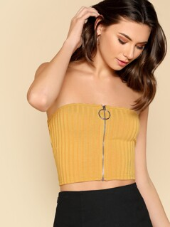 O-Ring Zipper Front Ribbed Strapless Top
