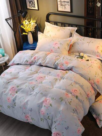 1.8m 4Pcs All Over Florals Print Bedding Set