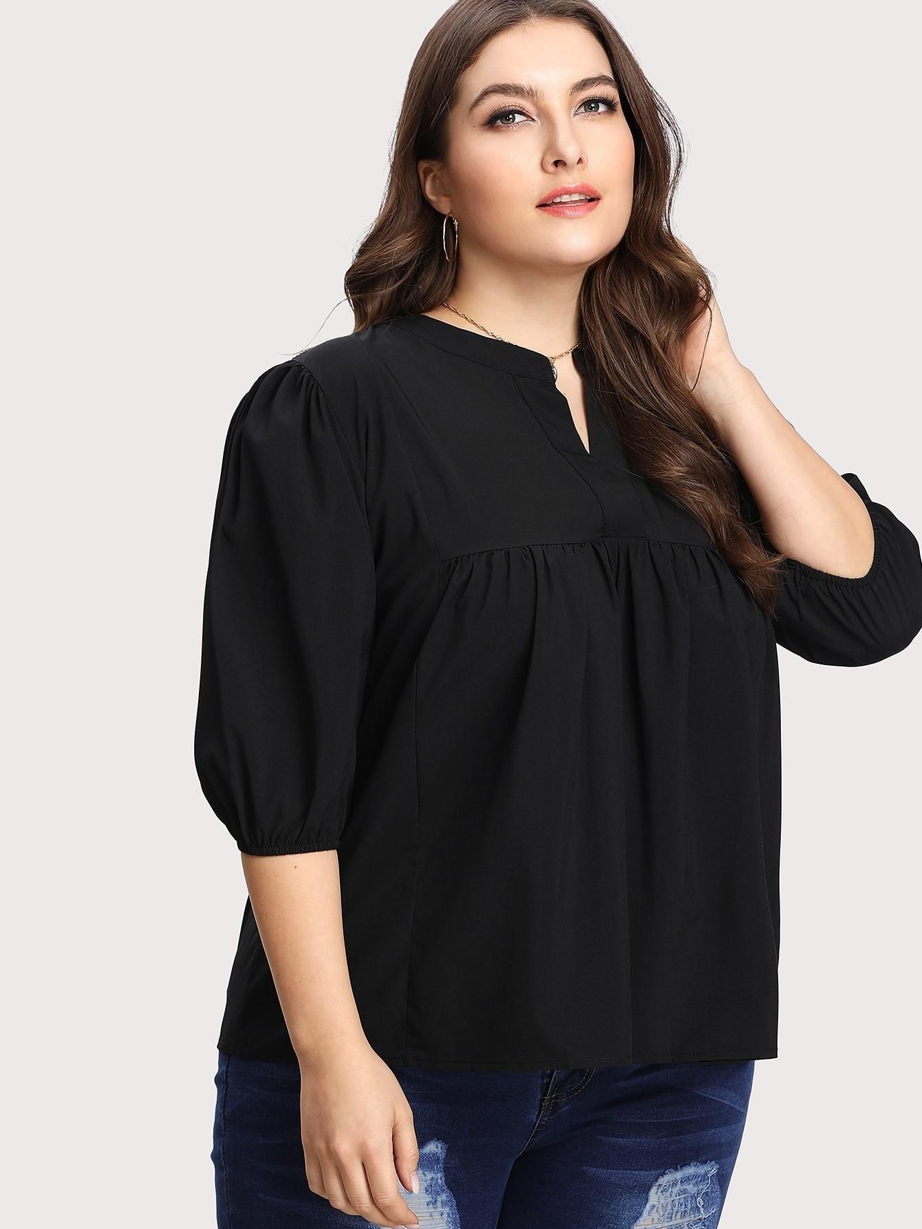Купить Модная блуза с оборкой и V-образным вырезом, Franziska, SheIn