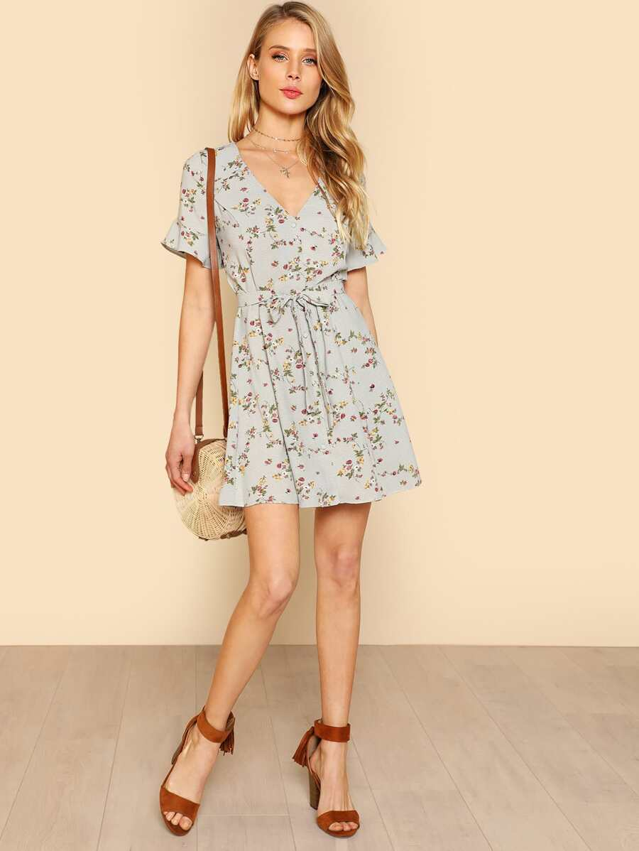 Flounce Sleeve Button Up Floral Dress by Shein