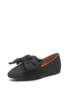 Bow Decorated Square Toe Flats