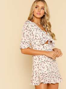 Floral Front Tie Ruffled Keyhole Cutout Dress OFF WHITE