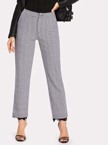 Contrast Lace Glen Plaid Pants