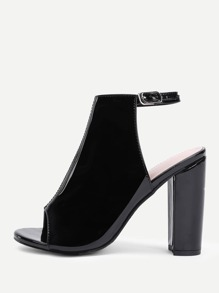 Peep Toe Chunky Heeled PU Pumps