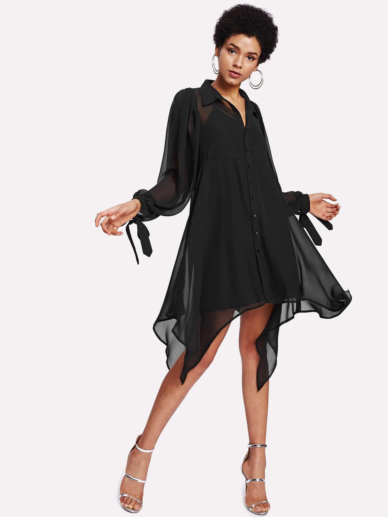 Knot Cuff Hanky Hem 2 In 1 Dress high slit hanky hem metallic halter dress