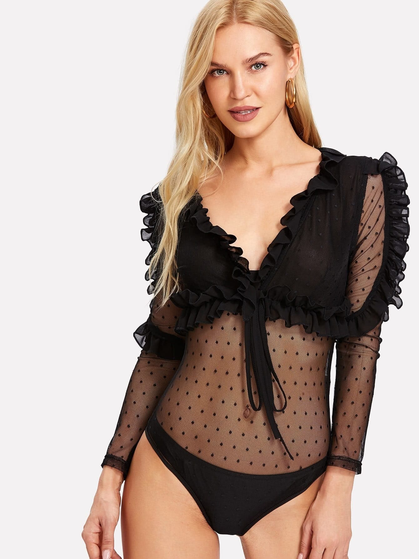 Frill Embellished Dot Mesh Bodysuit dot mesh overlay frill detail fluted cuff top