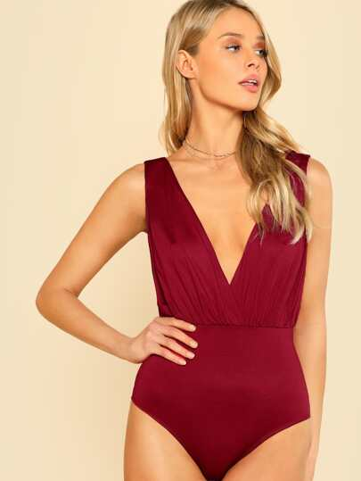 Double Deep V Neck Bodysuit