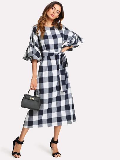 Self Belted Checked Dress