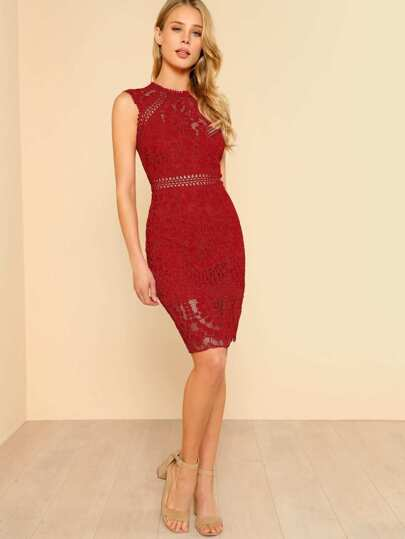 Fitted Lace Overlay Dress RED