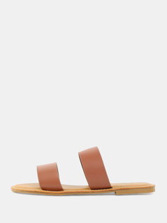 Open Toe Double Strap Sandals TAN