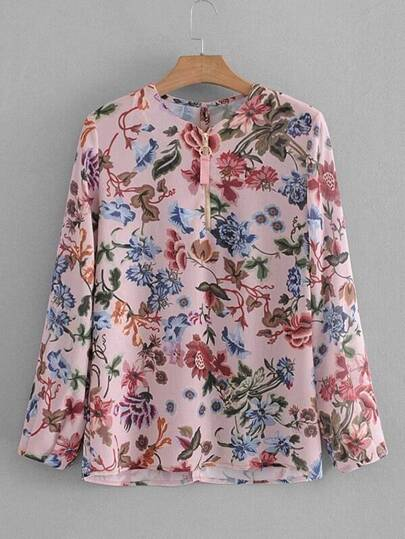Zipper Up Floral Blouse