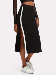 Contrast Panel Split Side Skirt