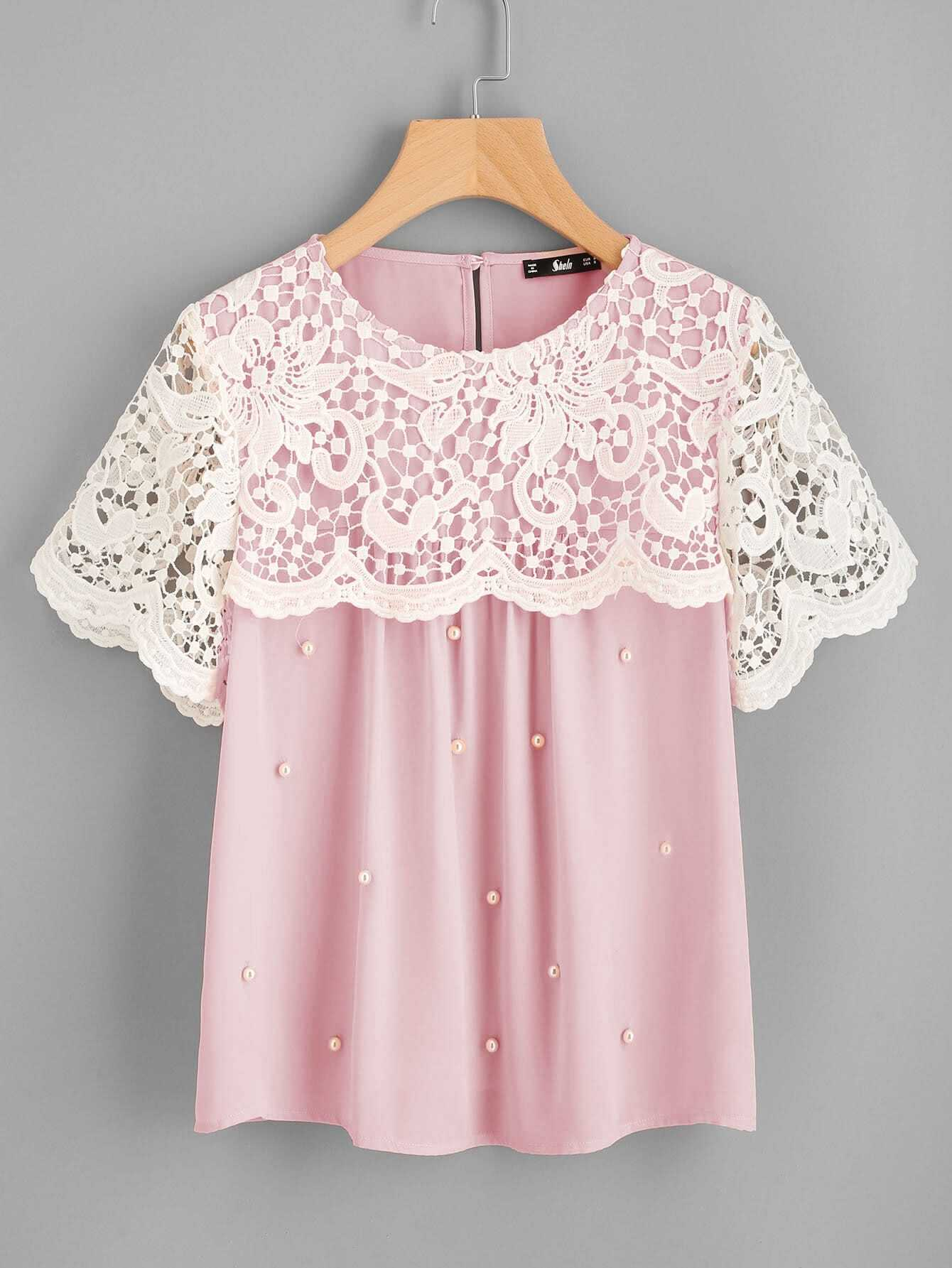 Guipure Lace Overlap Pearl Beading Top pearl beading layered sleeve top