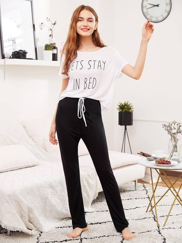 Slogan Print Tee And Sweatpants Pajama Set