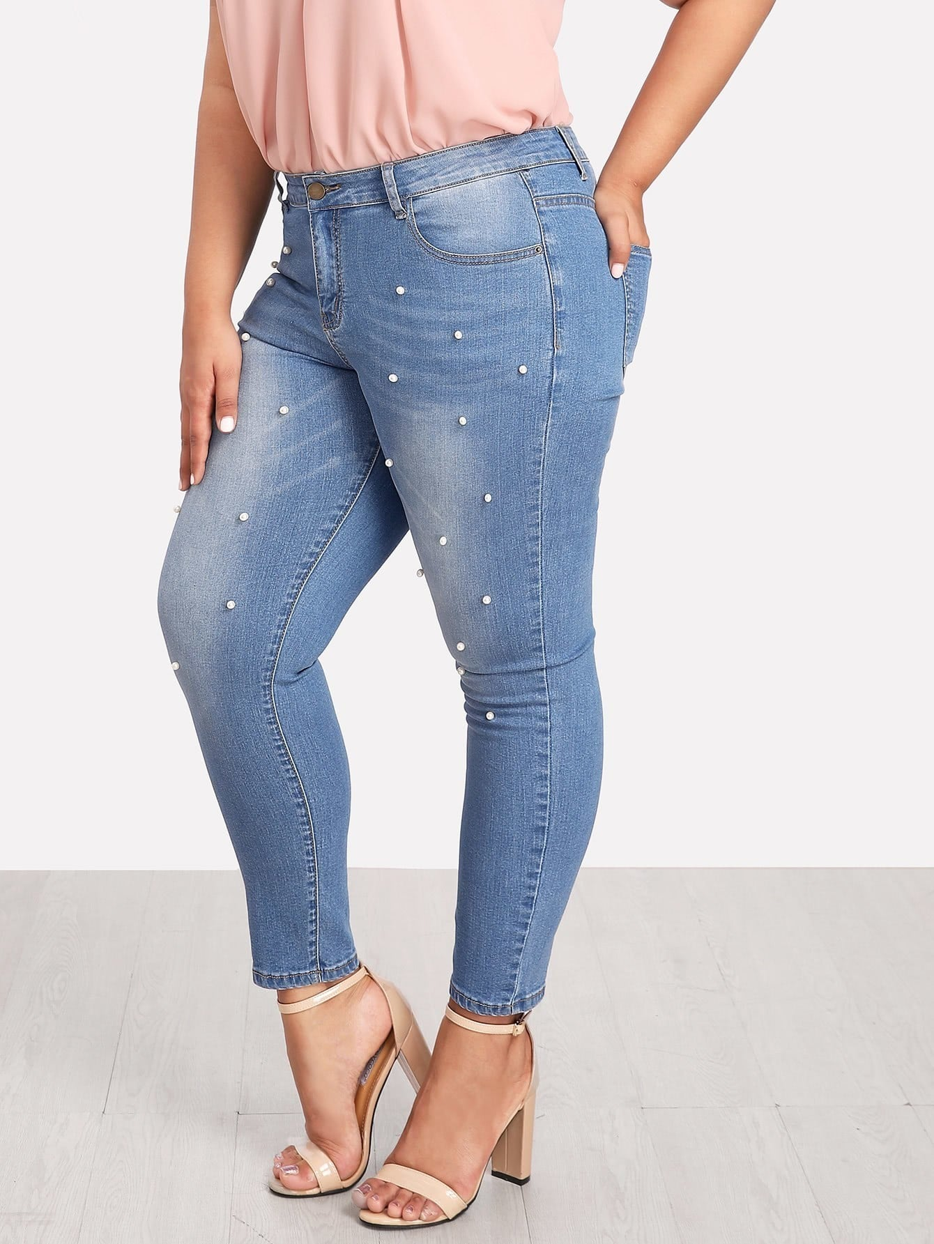 Pearl Detail Jeans pearl and layered lace detail pullover