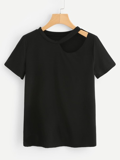 Cut Out Detail Solid Tee
