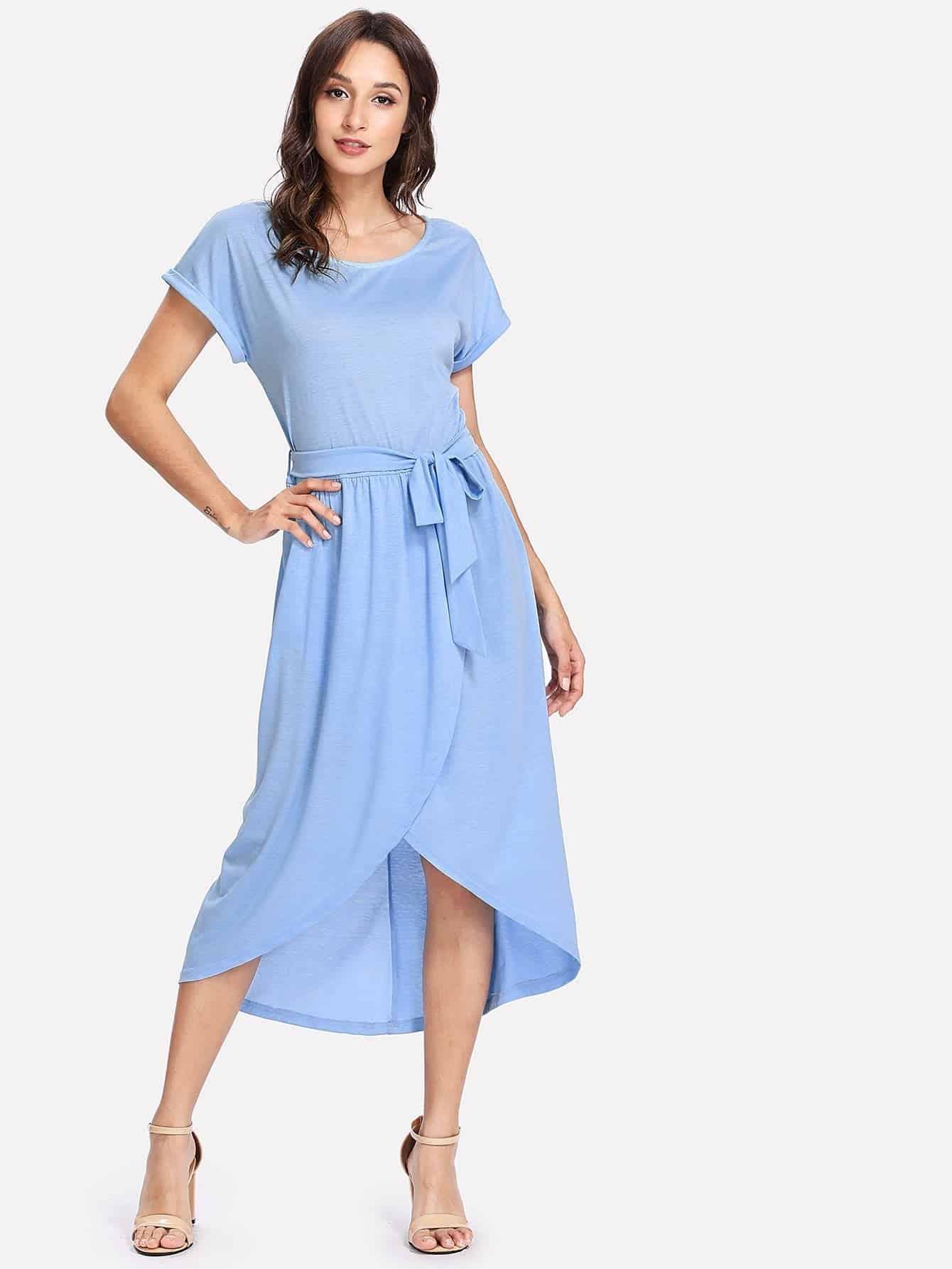 Self Belt Overlap Hem Solid Dress overlap asymmetrical hem bandeau dress