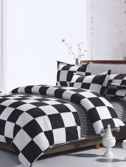 1.5m 4Pcs Check Print Duvet Cover Set