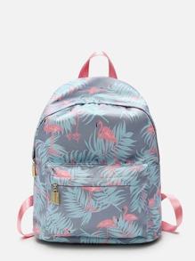 Flamingo Print Backpack