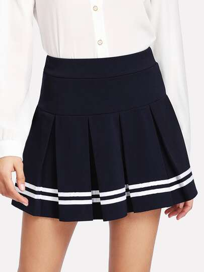Varsity Striped Hem Pleated Skirt