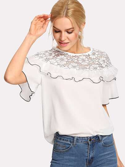 Floral Lace Insert Ruffle Top